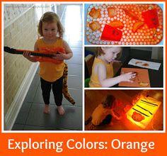 LalyMom Kids Crafts and Activities: Exploring Orange Halloween Activities For Toddlers, Nanny Activities, Color Activities, Preschool Projects, Fun Crafts For Kids, Toddler Activities, Fall Crafts, Toddler Fun, Toddler Preschool