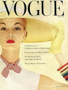 Vogue Cover May 1954 - Jean Patchett by Erwin Blumenfeld Vogue Magazine Covers, Fashion Magazine Cover, Fashion Cover, Magazine Ads, Vogue Vintage, Vintage Vogue Covers, Vintage Hats, Vintage Stuff, Vintage Barbie