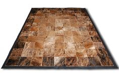 New New!  Brown brindle & black patchwork design cowhide area rug! Black leather border