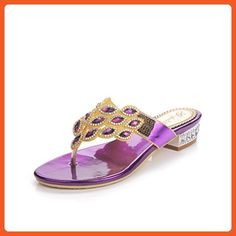 cce76b9bd Unicoratha Women s Fashion Crystal Rhinestone Low Heel Slip On Beach Sandals  Flip Flops Purple 10 M US