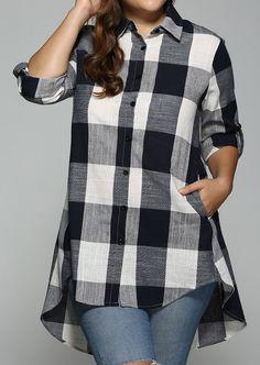 Buy High Low Plus Size Long Plaid Boyfriend Shirt - Purplish Blue - online, fidn many other Women's Clothing Plus Size Shirts, Plus Size Blouses, Plus Size Tops, Plus Size Women, Top Fashion, Plus Size Fashion, Fashion Outfits, Womens Fashion, Fashion Sale