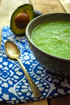 Love the bright green color of this healthy Cucumber Avocado Soup. This is tasty stuff. Low calorie, vegan, paleo, gluten free.