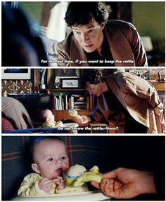 i will never not pin this because shERLOCK INTERATING WITH CHILDREN IS THE 2ND BEST THING TO HIM INTERACTING WITH DOGS