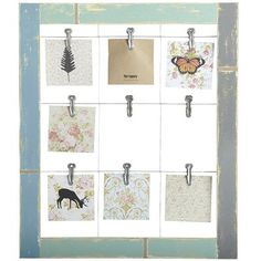 Ok, found this at Pier 1, but I know I can make it myself! Old picture frame, some hanging wire and a few cute clips.... presto! 9-Clip Wall Photo Holder