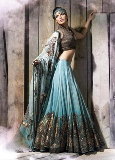 sky blue and grey design lengha