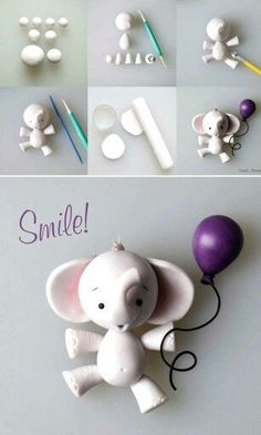 Tutorial modelado elefante en fondant Little Elephant cake topper tutorial by Cake Avenue http://crumbavenue.com/tutorials/little-elephant  Pinterest ;) | https://pinterest.com/cocinadosiempre/