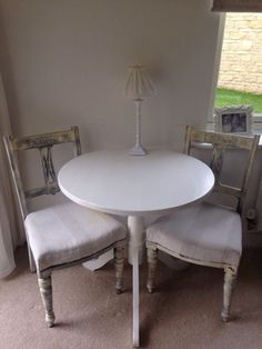 Shabby Chic Table 2 Chairs On Gumtree Painted In Farrow Ball Pedestal
