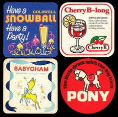 Babycham & Cherry B. Pony and Snowball. Drinks for retro gurls like me! 1970s Childhood, Childhood Days, What Is English, English Beer, 60s Theme, Uk Singles Chart, Beer Mats, Nostalgic Images, Beer Coasters