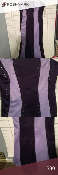 Long Striped Ball Gown w Flared Bottom Classy strapless purple striped ball gown. Sequins along the stripes as well as a flared bottom. Never worn. *prices are negotiable* Dresses Strapless