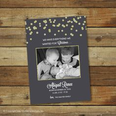 Glitter Christmas card and birth announcement