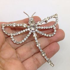 Vintage DRAGONFLY BROOCH Clear Rhinestone Silver Tone Wings Insect Jewelry SALE