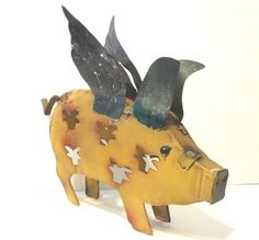 Flying Pig Metal Yard Art Home Decor 12 in x 13 in New Rustic Sculpture Texas | eBay