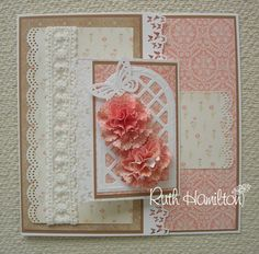 A Passion For Cards: Carnation Joy Fold Card Joy Fold Card, Tri Fold Cards, Fancy Fold Cards, Folded Cards, Funny Holiday Cards, Christmas Cards, Pinterest Cards, Studio Cards, Greeting Card Template