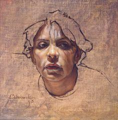 """Cabeza de Lerida"" 1993 olio su tela posto su tavola ( 33x38,5 Aldo Baraonde (Santiago, Cile 1963)"