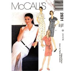 Shirt Dress Pattern McCalls 2631 Button Front Fitted Above Knee or Ankle Size 12 14 16 UNCUT - product images  of