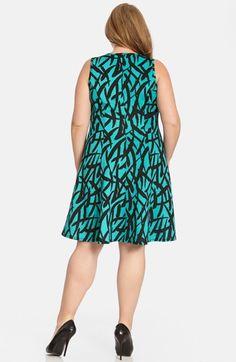 Karen Kane Plus Size Fashion Teal Blue and Black Brushstroke Print Scuba Knit Fit & Flare Dress available from  Nordstrom #Baja #Spring_2015 #Plus_Size #Artsy #Black #Turquoise #Brushstroke #Print #Dress #Plus #Size #Womens #Fashion #KarenKane #Plus_Size_Fashion #Nordstrom