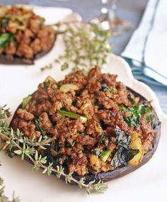 Portobello mushrooms stuffed with ground beef, garlic, onion and spinach. Just one of the 40+ recipes in the book #FastMetabolismDiet You can make these in advance, freeze, then reheat. For Phase 2.