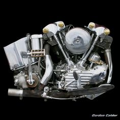 Harley Davidson Knucklehead Engine... their first overhead valved V-Twin 1936-1947.. As the design of Harley-Davidson engines has evolved through the years, the distinctive shape of the valve covers has allowed Harley enthusiasts to classify an engine simply by looking at the shape of the cover. A knucklehead engine has round knobs on the cover resembling knuckles that give the knucklehead its name.