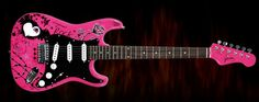 Pink and black girly guitar