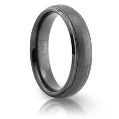 6mm Black Ceramic Ring Brushed Center Stepped Edge