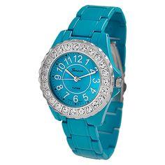 Women's Geneva Platinum Round Face Rhinestone Studded Metal Link Watch
