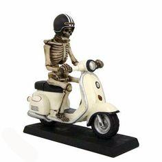 Scooter Figurine Skeletons, Skulls, Helmet, Motorcycle, Hand Painted, Black And White, Hockey Helmet, Black N White, Black White