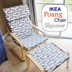 Make a brand new slipcover for your IKEA Poang Chair Cover! Here's a handy DIY by Stickleberry. Make a brand new slipcover for your IKEA Poang Chair Cover! Here's a handy DIY by Stickleberry. Ikea Poang Chair, Diy Chair, Chair And Ottoman, Chair Cushions, Upholster Chair, Slipcover Chair, Diy Ottoman, Ottoman Tray, Ottoman Cover