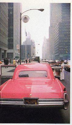 Pink Caddilac in NYC. Old school love.