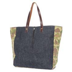 Color Block Tote Bag Blue x Duck Hunter