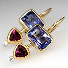 Rubellite Tourmaline & Tanzanite Earrings Bezel Set 18K Gold - EraGem