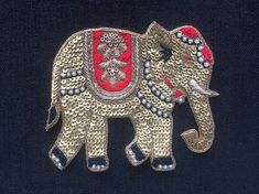 Royal Elephant Zardozi Embroidery Patch,Indian Handmade Royal Animal Patch Gold Sequins Bullions Cutwork Zari Red Embroidery W by IndianCraftSafari on Etsy Zardosi Embroidery, Bead Embroidery Patterns, Hand Work Embroidery, Bead Embroidery Jewelry, Embroidery Fashion, Embroidery Patches, Hand Embroidery Designs, Embroidery Applique, Beaded Embroidery