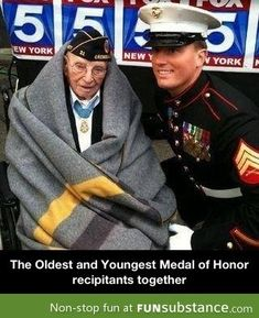 Veterans Day parade NYC Youngest Medal of Honor recipient meets oldest living recipient. They include Marine Corps veteran Dakota Meyer and Nicholas Oresko, the nation's oldest living honoree. Medal Of Honor Recipients, Medal Honor, My Champion, Believe, Us Marine Corps, Marine Mom, Support Our Troops, Us Navy, Military Life
