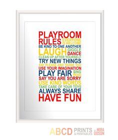 Playroom rules, kids art print, kids room decor 11X14 CUSTOM COLORS. $18.00, via Etsy.