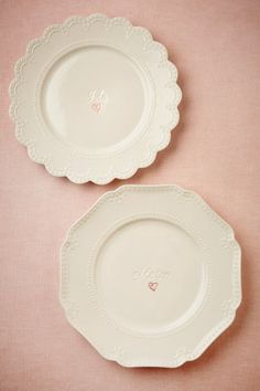 Adorable hostess gifts for the newly engaged or married. I Do, Me Too Dinner Plates (2) from BHLDN