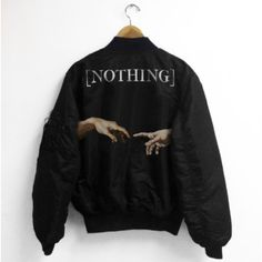 Jacket: nothing black hands painting art bomber ❤ liked on Polyvore featuring outerwear, jackets, black jacket, black bomber jacket and bomber jacket