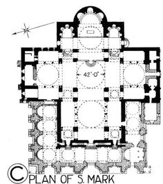 Floor plan of St. The basilica is in the shape of a Greek cross and covered with domes after the Byzantine tradition. The Venetians were influenced by the art and architecture of Constantinople (Istanbul) during the Crusades. Byzantine Architecture, Religious Architecture, Church Architecture, Classical Architecture, Historical Architecture, Architecture Details, Section Drawing, Byzantine Art, Early Christian