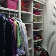 Shoe shelves on far left and peg board on far right with lots of adjustable hanging and shelves in between increase the usefulness of this student closet space. Shoe Shelves, Shelving, Supply Room, Shared Closet, Organizing, Organization, Closet Space, Mudroom, Declutter
