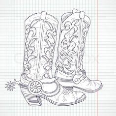Hand gezeichnete Skizze eines Cowboy-Stiefel | Stock-Vektor ...
