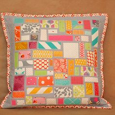 Threadbias: Ticker Tape Pillow talk Swap  by Goldwillow - see the back too
