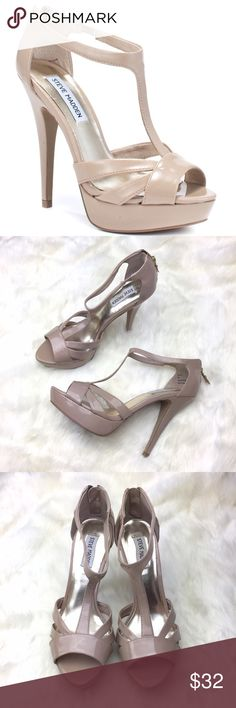 "Steve Madden Haylow Sandal in Blush A wrapped platform and skinny stiletto heel add lofty height to a strappy evening sandal fashioned from sleek patent faux leather.  Back zip closure. Approx. heel height: 5"" with 1"" platform (comparable to a 4"" heel). Textile upper/synthetic lining and sole.                    Barely worn, excellent condition! Steve Madden Shoes Heels"
