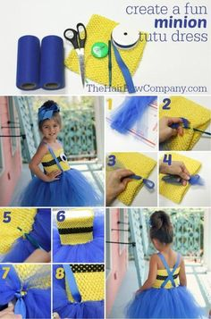 Halloween is the perfect time to flaunt your Minions pride by making an awesome DIY Minions Costume. Diy Minion Kostüm, Minion Tutu, Minion Dress, Minion Craft, Minion Costumes, Diy Halloween Costumes For Kids, Minion Party, Diy Tutu, Little Princess