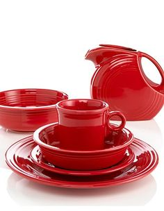 Scarlet Fiesta Ware... best everyday dishes ever! Totally affordable tons of styles and sizes and COLORS!!! Go Bold People!!