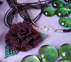Burgundy Beaded Rose Necklace by fivefootfury, via Flickr