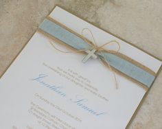 Hessian and Baby Blue Linen Christening or Holy Communion Invitation