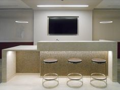 #WallTileWednesday highlights a fabulous installation by Abel Design Group using our Confetti Metal Blend on the island wall of the break room bar! #Confetti #walltile #Wednesday #humpday #houston #texas #interiordesign #design #breakroom #relax #tv #metal #tile #mosaic #tiles #office #decor #inspiration #accent #deco #modern #look #designer #backlit #accentlighting