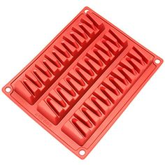 Freshware CB-800RD 3-Cavity Zig Zag Silicone Mold for Mak...