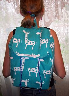 My Carrie Turquoise Giraffe Backpack by MyCarrieCreations on Etsy, $43.50