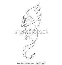 One line dragon design silhouette.Hand drawn minimalism style vector illustration