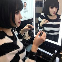 დ Kina Shen დ Kina Shen, Goth Model, Badass Aesthetic, Doll Makeup, Mirror Image, My Favorite Part, Korean Beauty, Poses, Gothic Fashion