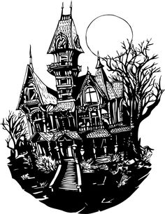 Stock haunted house art tattoos pinterest house art Haunted house drawing ideas